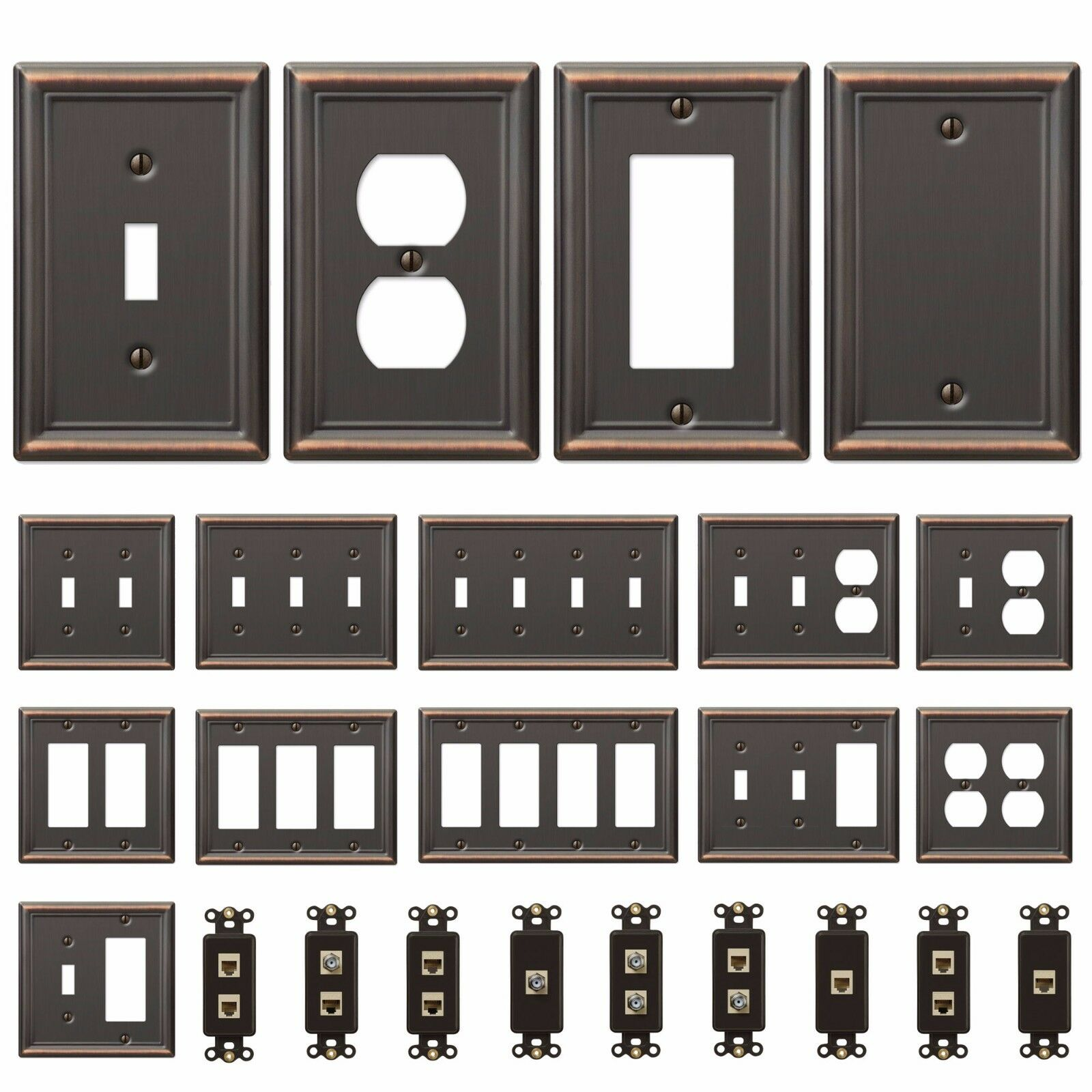 Bronze Wall Switch Plate Toggle Outlet Cover Rocker Duplex Wallplate Triple Gang Face 1 Of See More