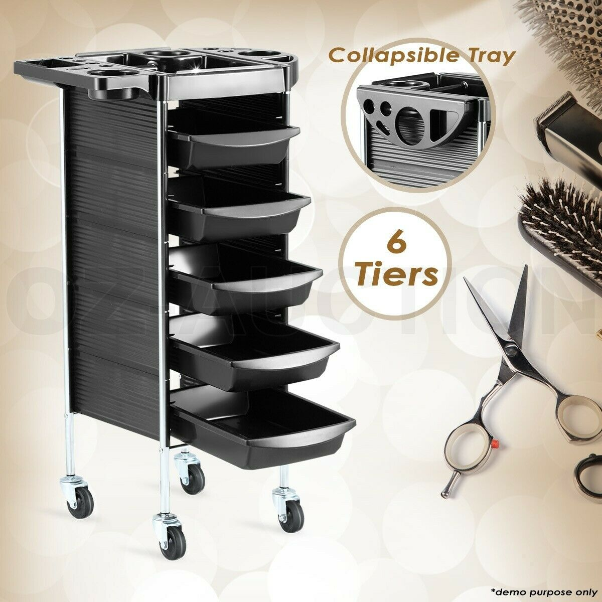 Beauty Spa Hairdresser Coloring Hair Salon Trolley Rolling Storage Cart 6 Tier