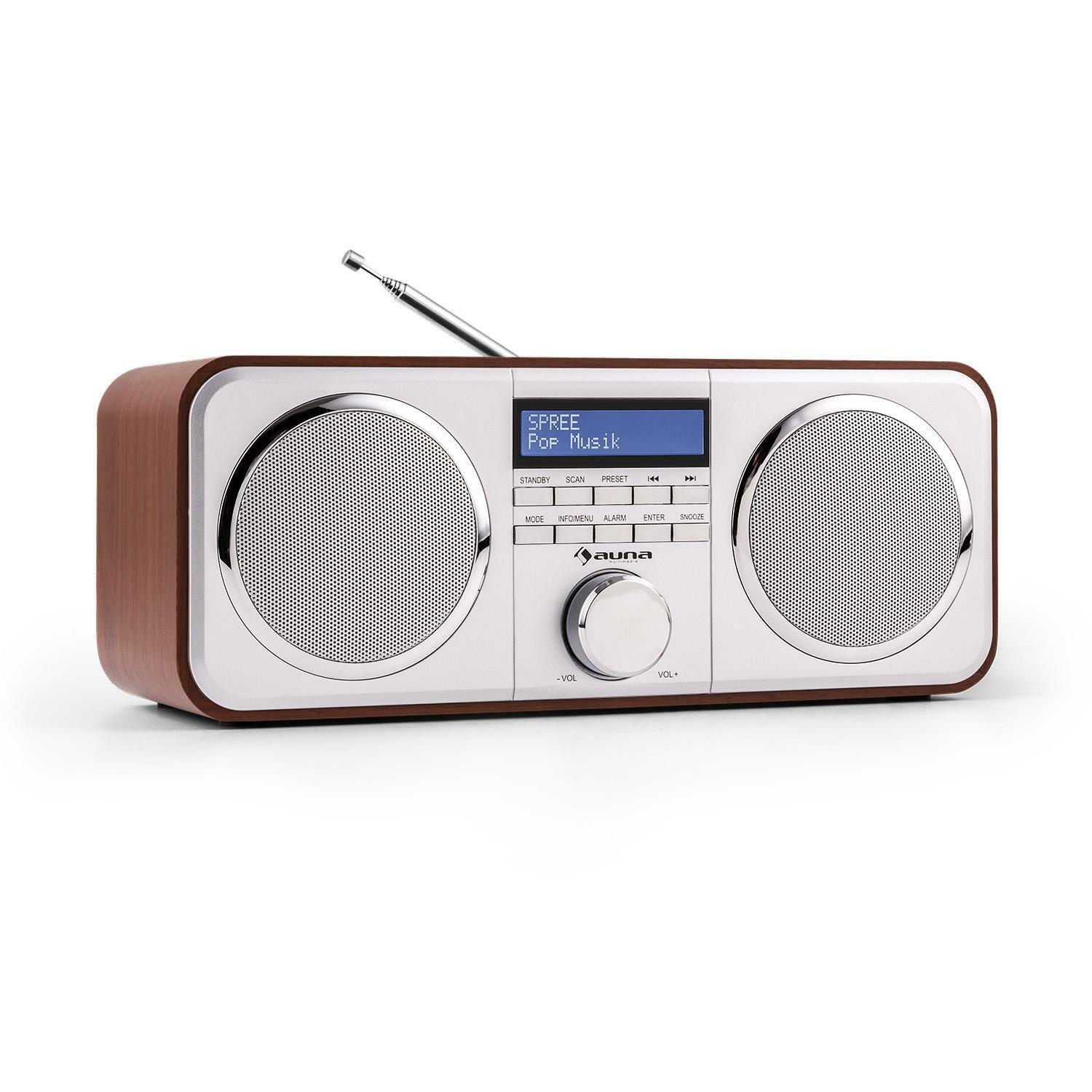digitalradio dab radio wecker bluetooth stereo lautsprecher ukw tuner aux holz eur 69 99. Black Bedroom Furniture Sets. Home Design Ideas