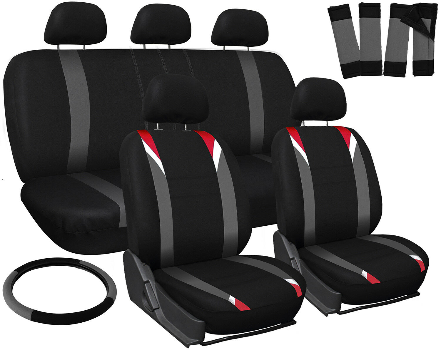 Car Seat Covers For Nissan Altima Red Gray Black W Steering Wheel Belt 1 Of 4Only 0 Available