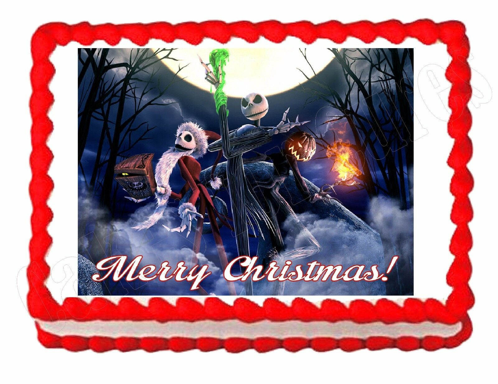 NIGHTMARE BEFORE CHRISTMAS edible party cake topper decoration ...