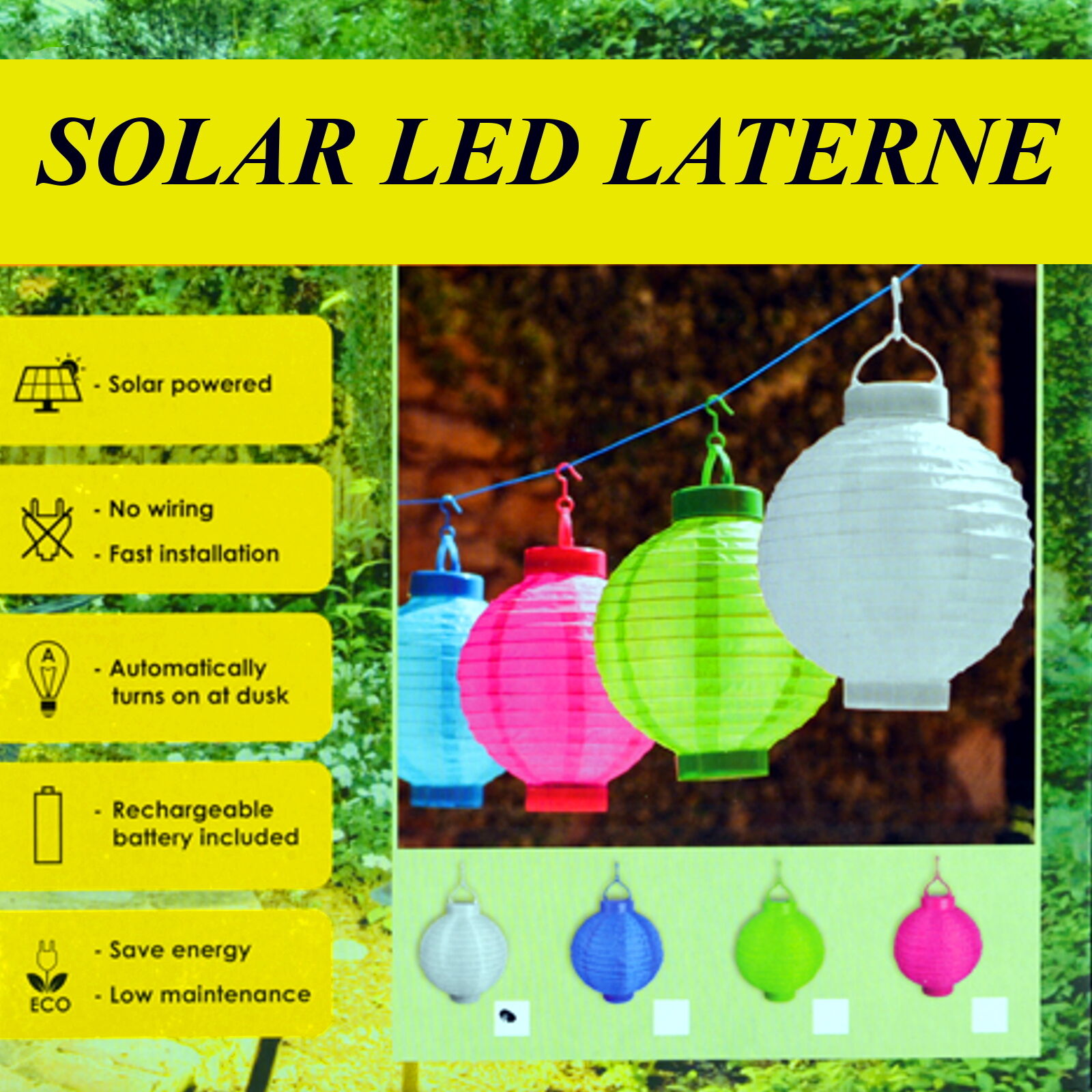 4 farben 20 papierlaterne solar led lampion lampions. Black Bedroom Furniture Sets. Home Design Ideas