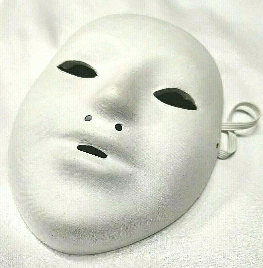 children' face mask white plain halloween fancy dress masquerade