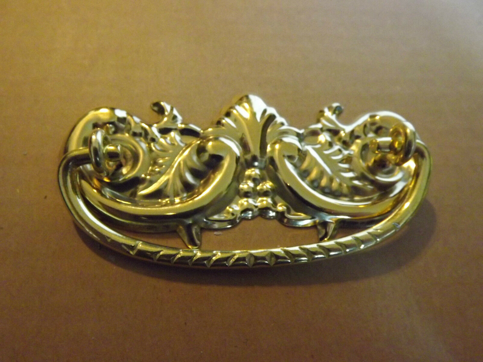 """rEPRODVictorian Stamped Brass Drawer Pull 4-1/8"""" wide x  1-7/8"""" tall , 3"""" boring"""
