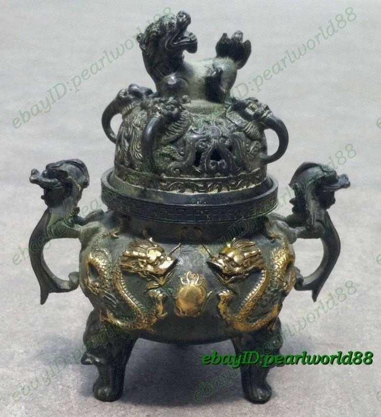 Collection Vintage  Bronze Statue Gilt Dragon lucky Incense Burner /Censer
