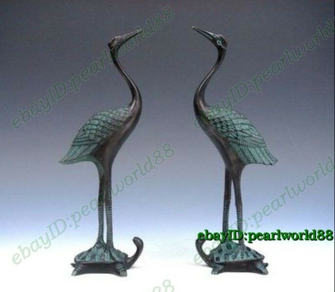 2pc Oriental Rich Carved crane Turtle Lucky Old Bronze statue pair