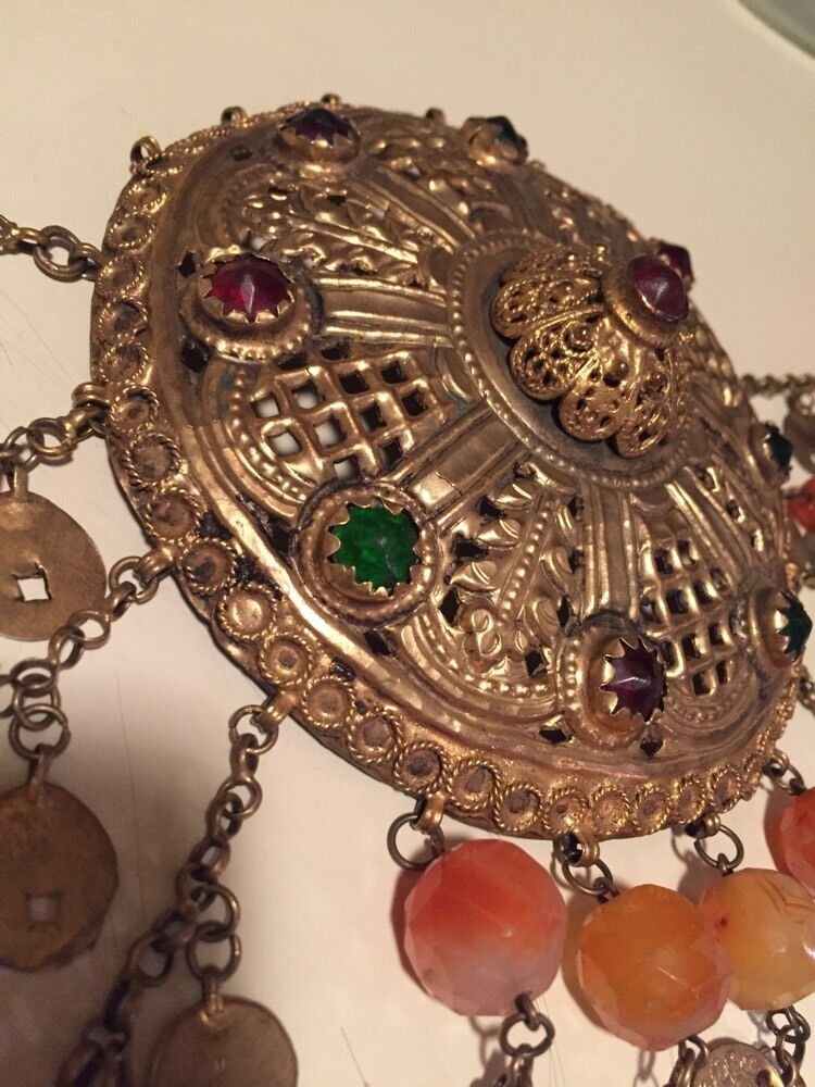 Antique Greek Gilded Belt W. Pendant Ahati Stones - Over 100 Years Old!