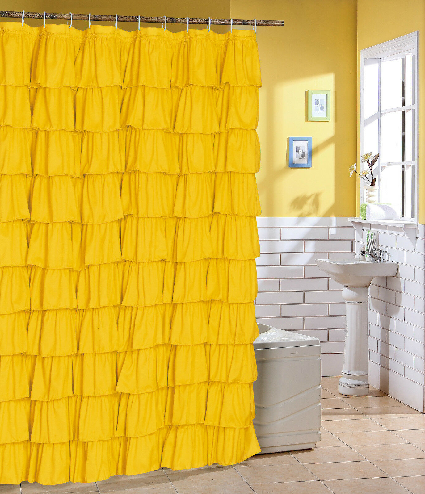 Fabric ruffle shower curtain color yellow flamenco shower curtain