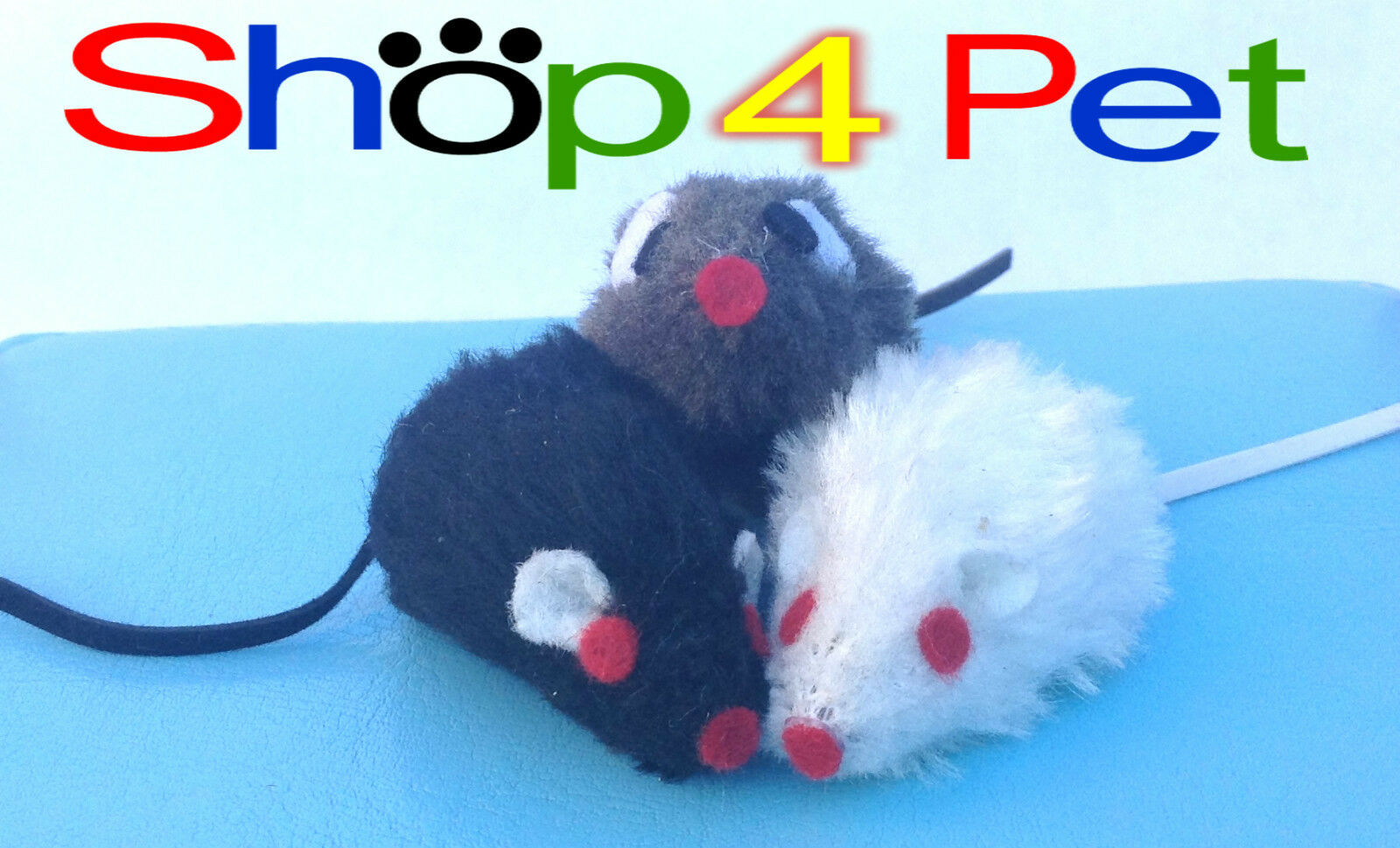 Cat Toy Mouse, in Black White or Grey, with Bell inside for your Cats Enjoyment.