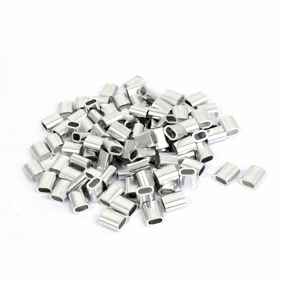 100PCS M4 OVAL Aluminum Sleeves Clamps for 4mm Wire Rope Swage Clip ...