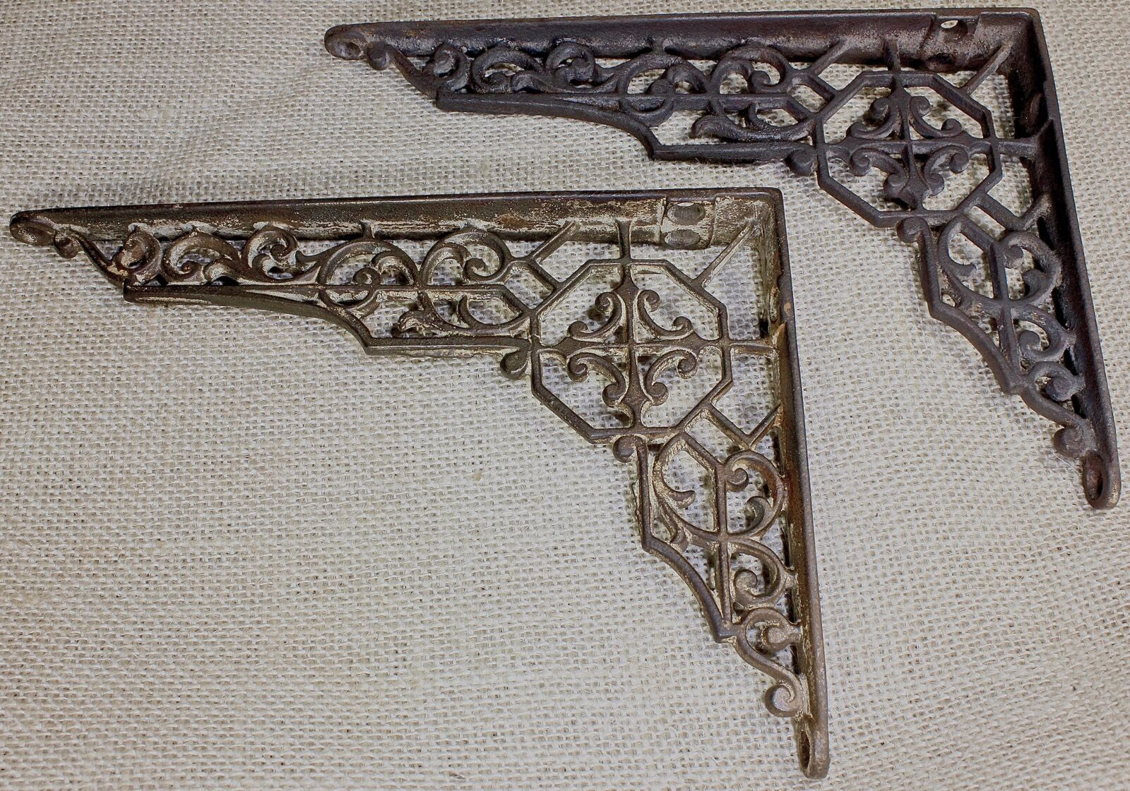 """2 old Shelf support brackets 5 X 7"""" vintage rustic iron Victorian 1880's hex"""