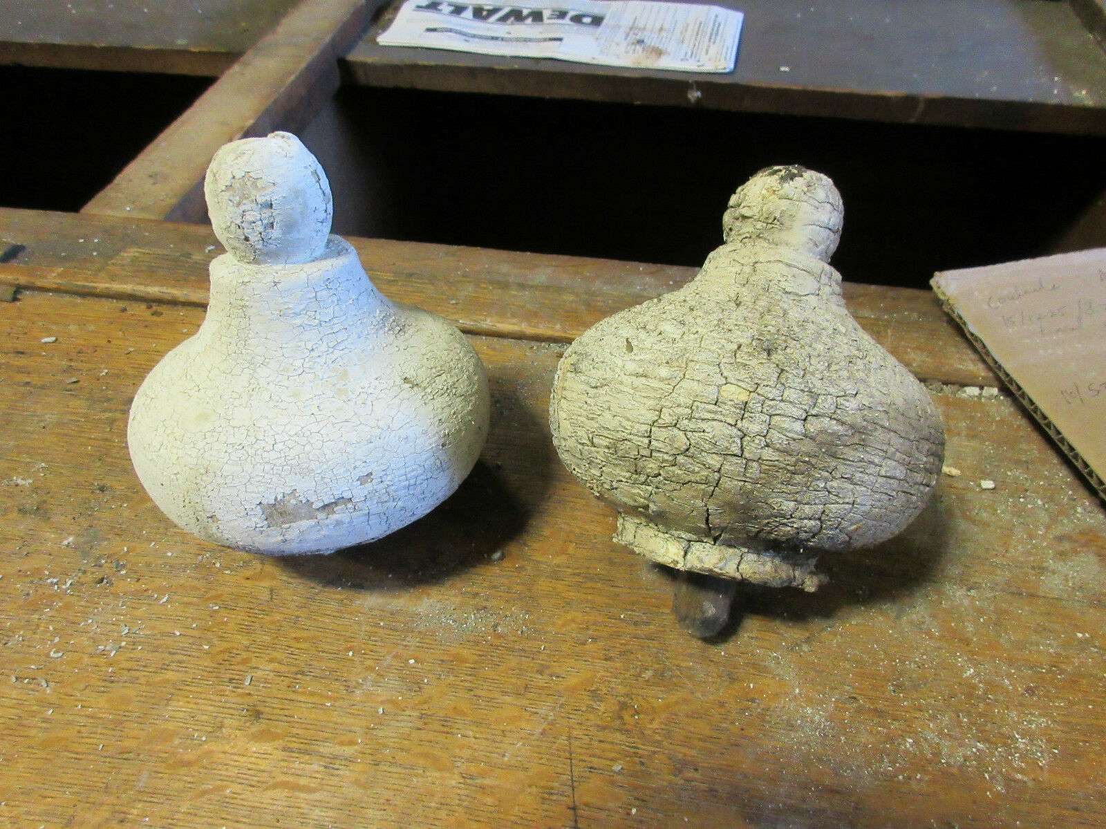 """PAIR large VICTORIAN era wooden FINIALS from corbels BULBOUS 5.5"""" x 5.5"""" white"""