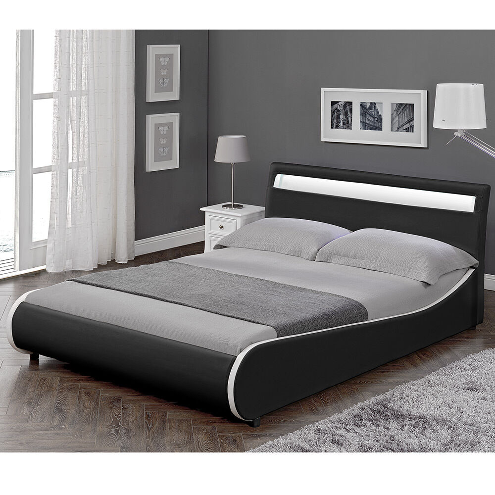 corium led design polsterbett 140x200cm schwarz doppel bett rahmen kunst leder eur 219 90. Black Bedroom Furniture Sets. Home Design Ideas
