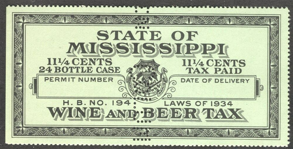 Mississippi State Revenue Beer And Wine Tax Stamp Srs Ms Bw32s