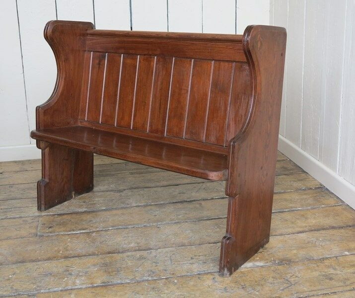 Antique Victorian Solid Pitch Pine Church Pew - Bench Settle Seating