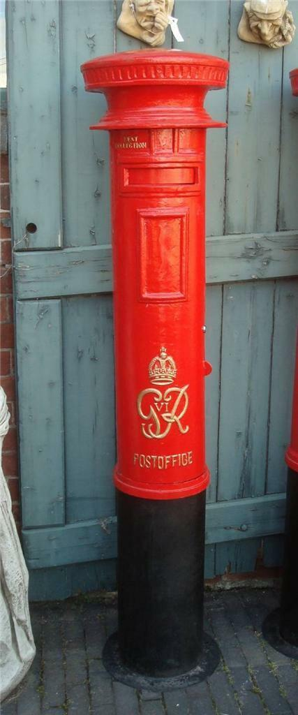 Replica Royal Mail GR Red Pillar Postbox Letter Box - Cast Iron - Free Standing