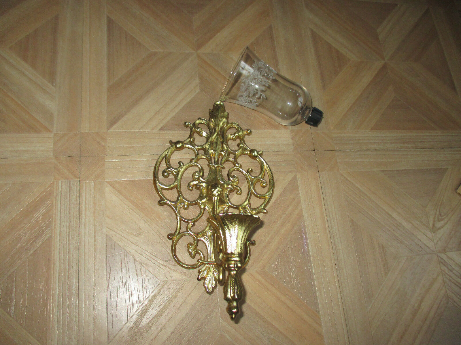 Vintage gold Metal  scrolled wall  sconce with votive cup holder floral etchings
