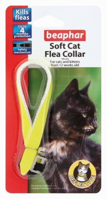 Beaphar Reflective Soft Cat Flea Collar In  Bright Day-Glo Yellow for Reflection