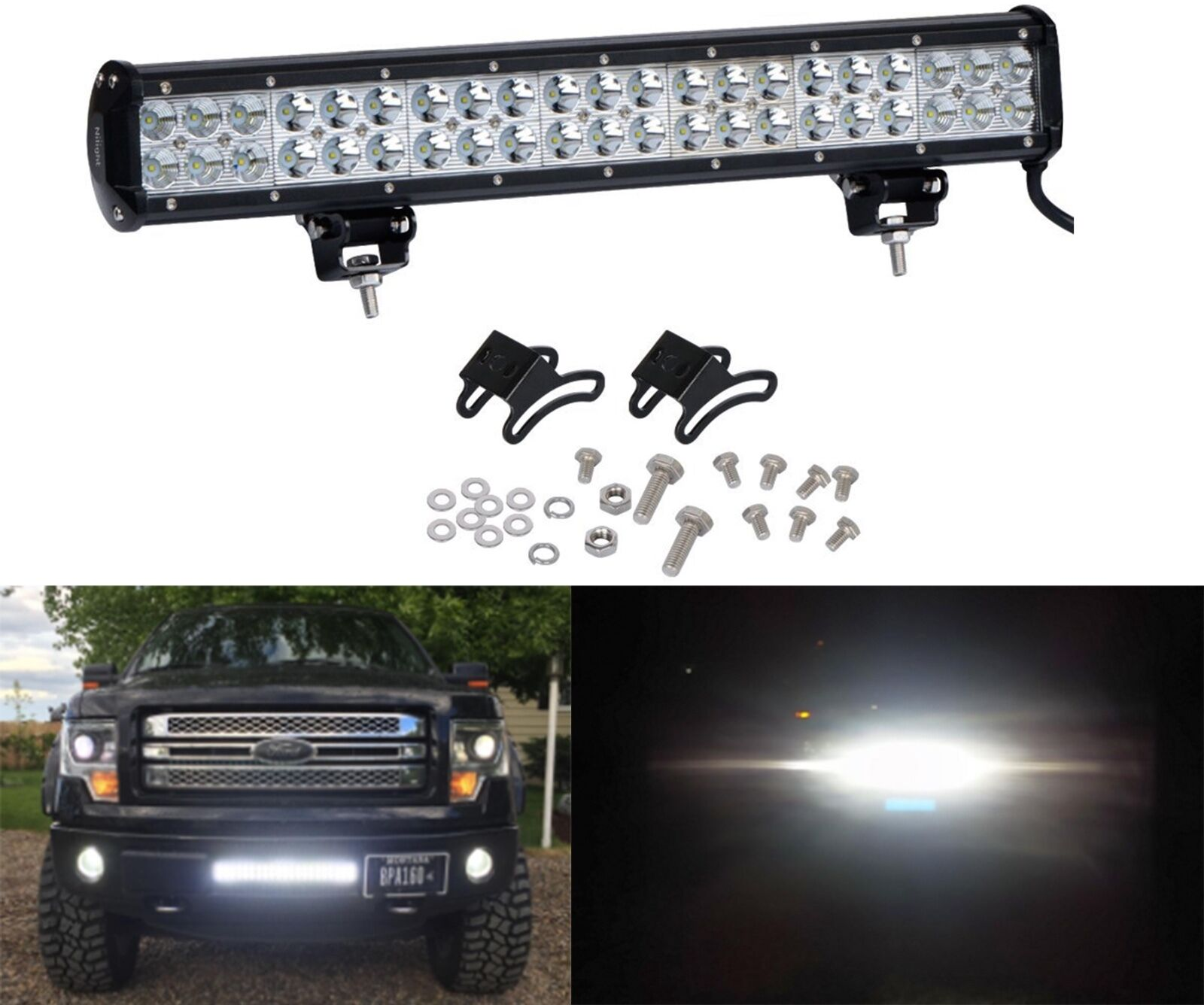Nilight 126w Light Bar Led 20 Spot Combo Beam Work Off Road New Wiring Harness Install Free Shipping 1 Of 12free