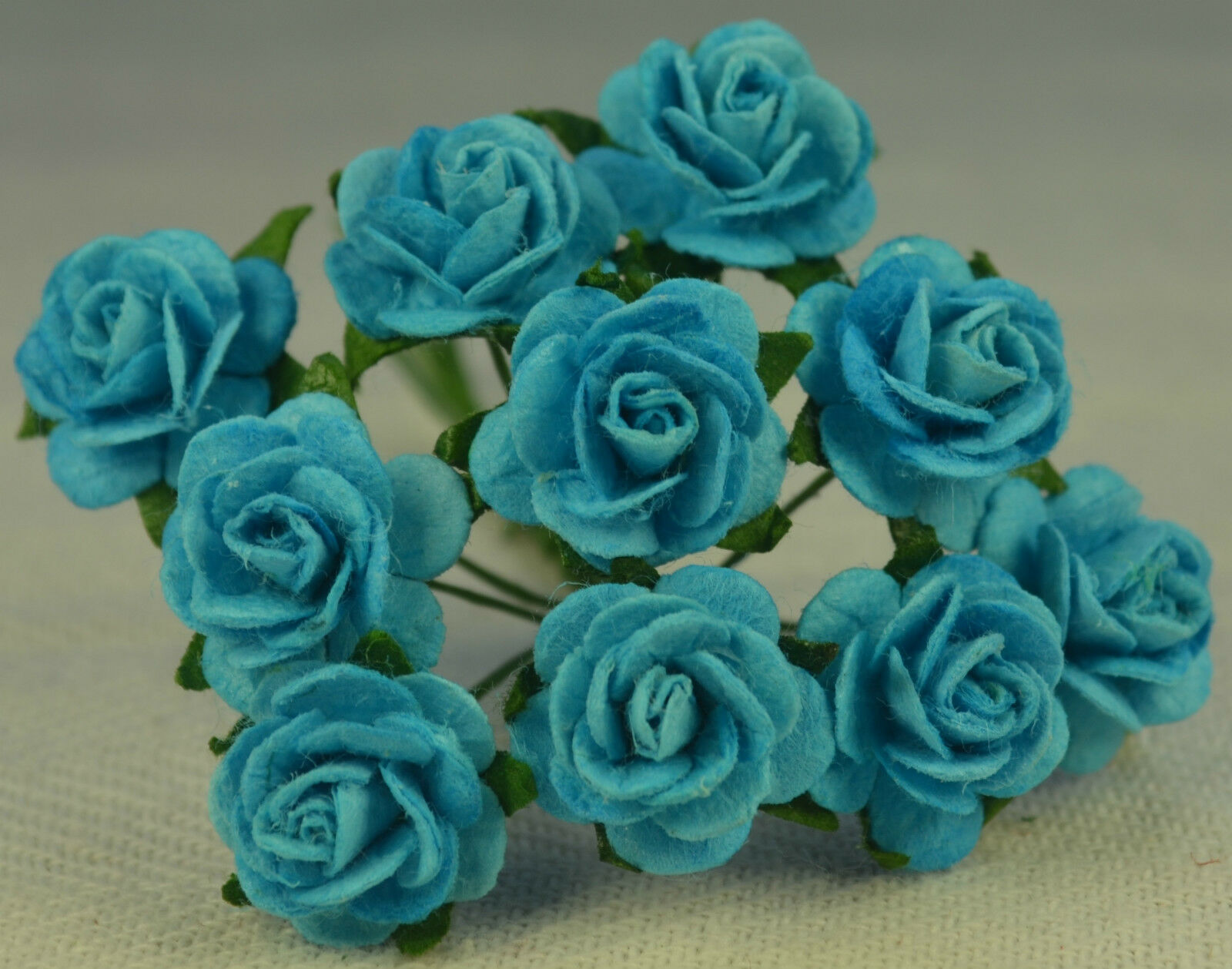 50 TURQUOISE BLUE ROSE (1.5cm) Mulberry Paper for weddings craft ...