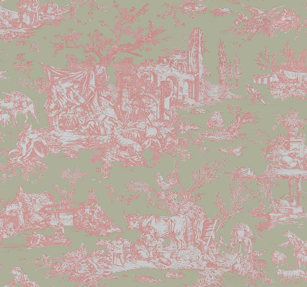 Wallpaper Designer French Country Toile Pale Pink On Green 1 Of See More