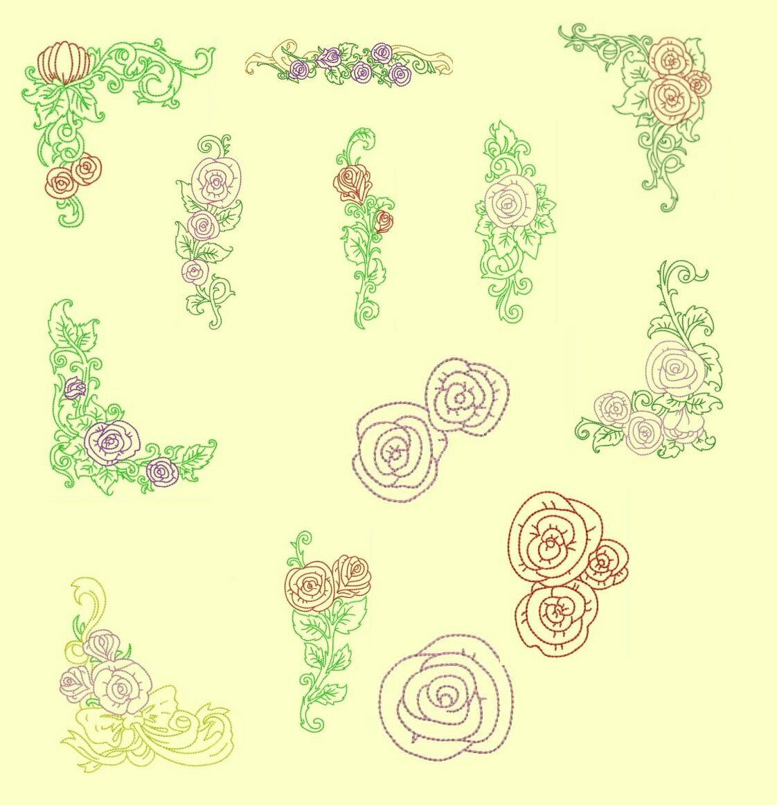 Floral machine embroidery design collection sets anemone
