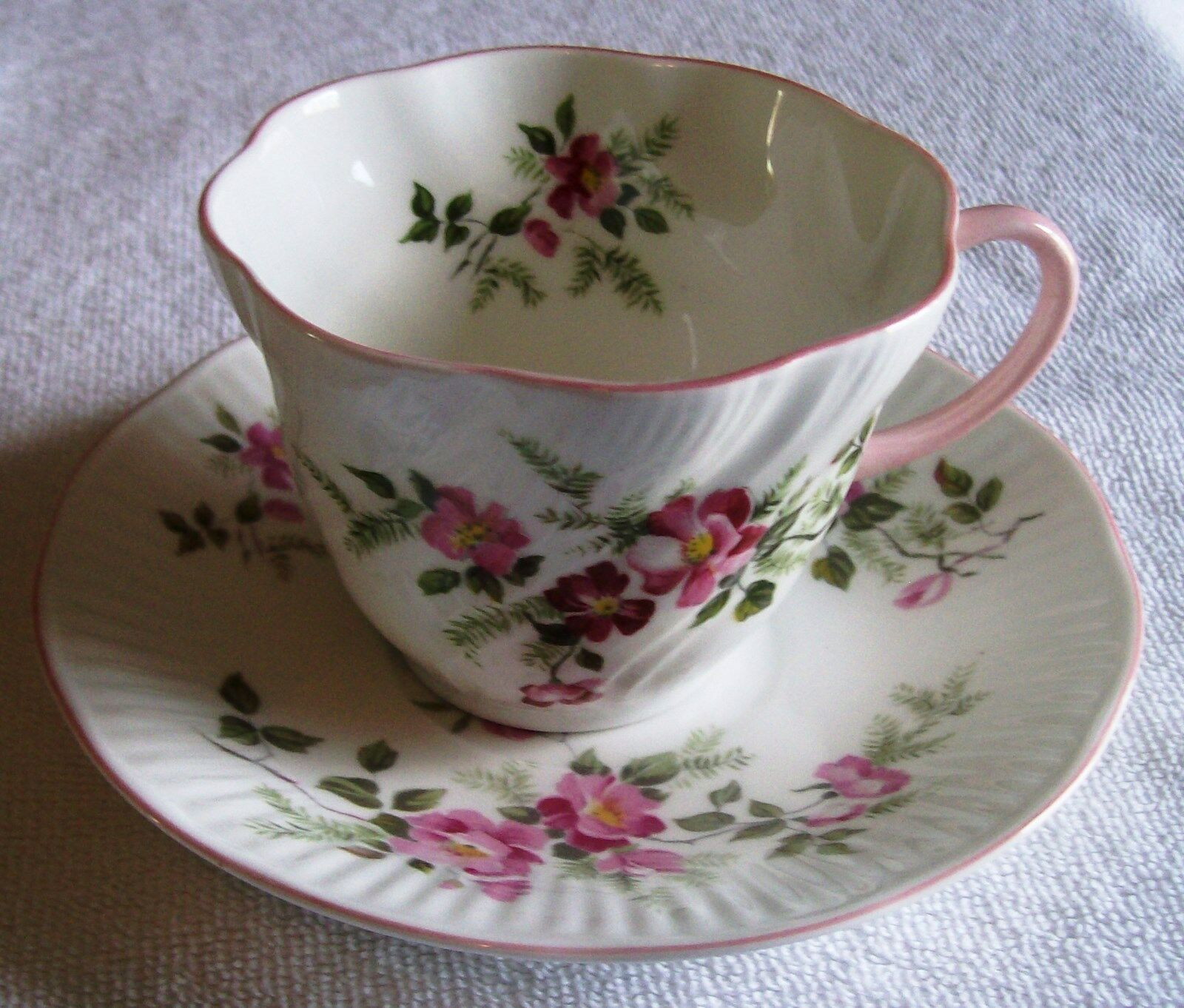vintage queens staffordshire fine bone china from england cup and saucer picclick. Black Bedroom Furniture Sets. Home Design Ideas