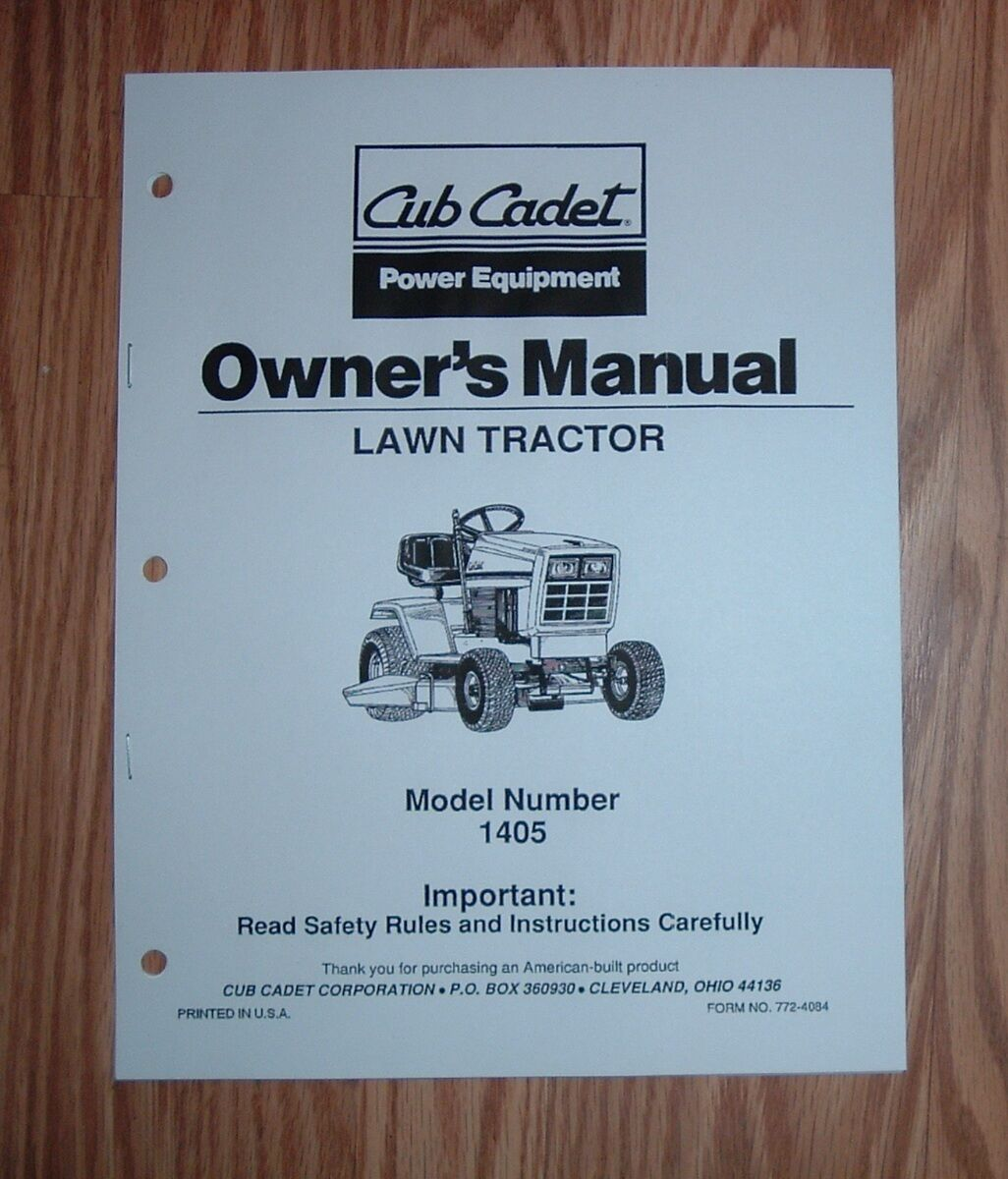 Cub Cadet 1405 Lawn And Garden Tractor Owners Operators Manual 1 of 1Only 1  available ...