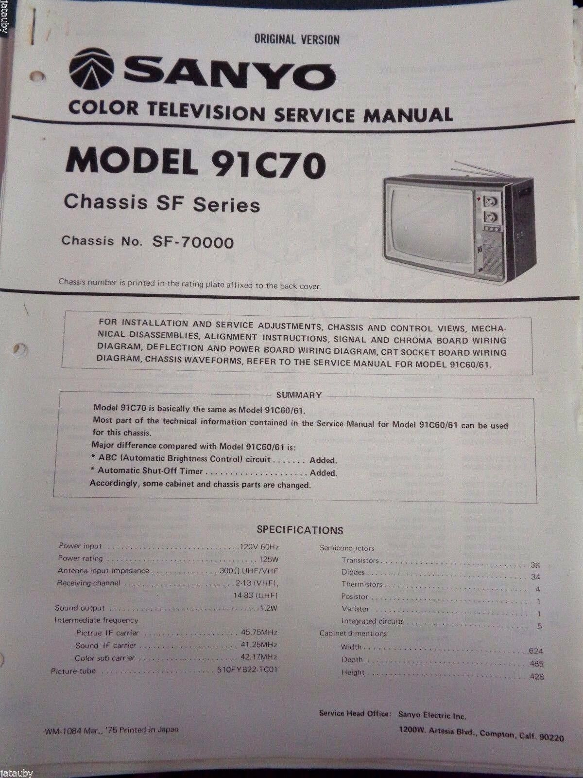 Sanyo Vintage Original Version Color Television Service Manual 91c70 Wiring Diagram 1 Of 1only Available
