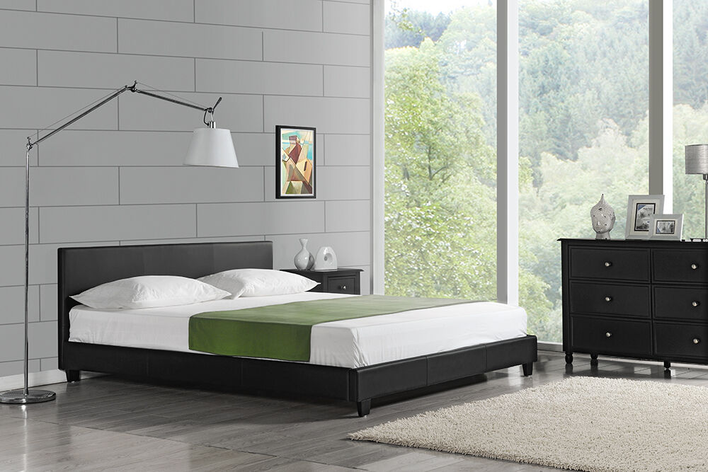 modernes doppelbett polsterbett 200x200cm schwarz bett rahmen kunst leder eur 139 90 picclick be. Black Bedroom Furniture Sets. Home Design Ideas