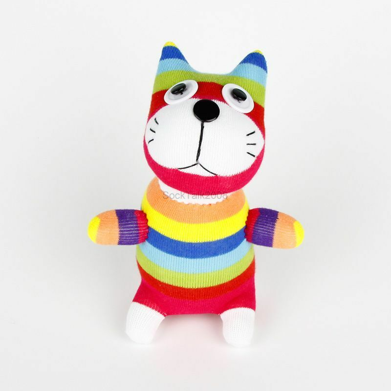 Handmade Colorized Striped Sock Monkey Cat Stuffed Animals Doll Baby Toy 1 Of 3only 3 Available