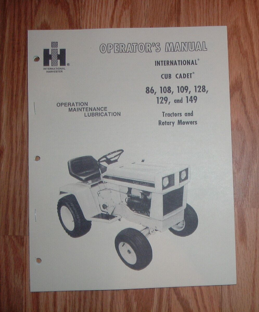 Cub Cadet Model 109 Operators Manual 1 of 1Only 1 available ...