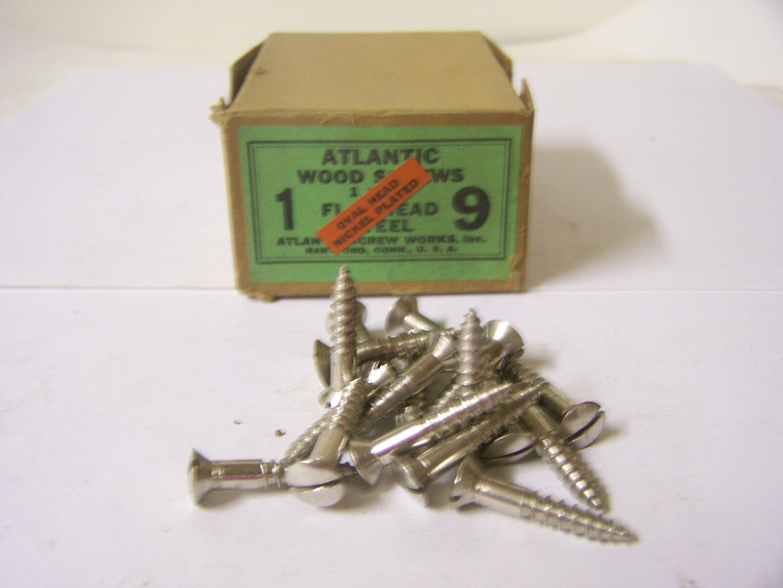 """#9 x 1"""" Oval Head Nickel Plated Steel Screws Slotted Made in USA  Qty. 135"""
