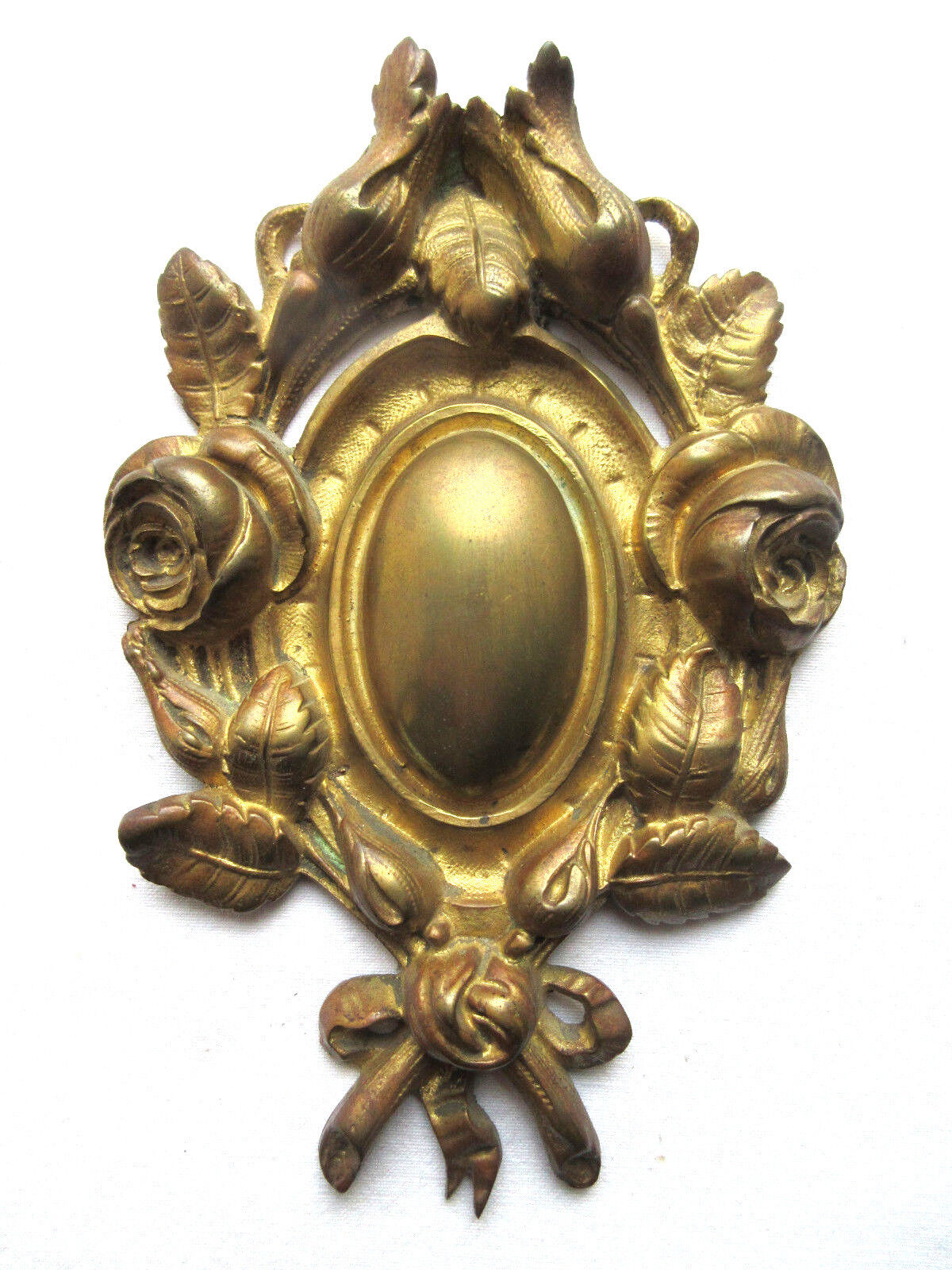 bronze pediment Napoleon III carved Roses and ribbon to hide the hook of a frame