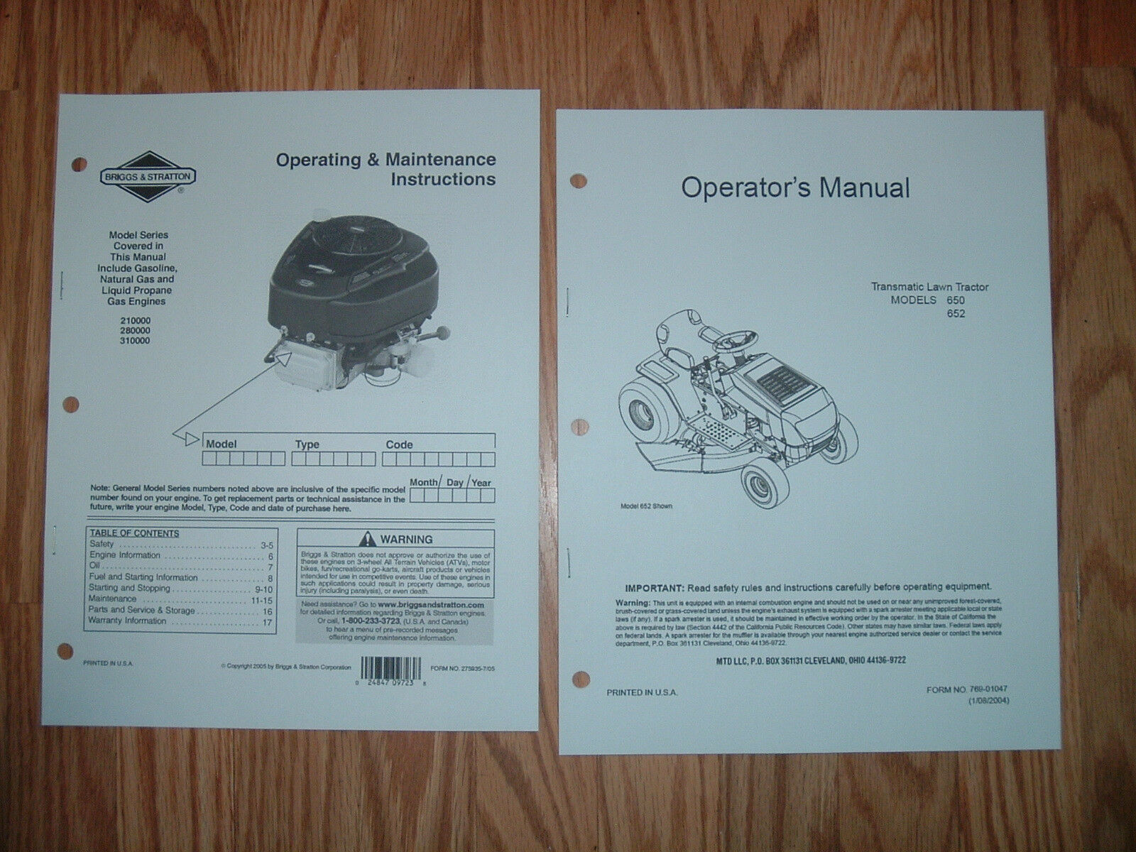 Mtd Models 650 652 Lawn Tractor And Engine Owners Manuals With Mower Parts Diagram On List For 1 Of 1only Available