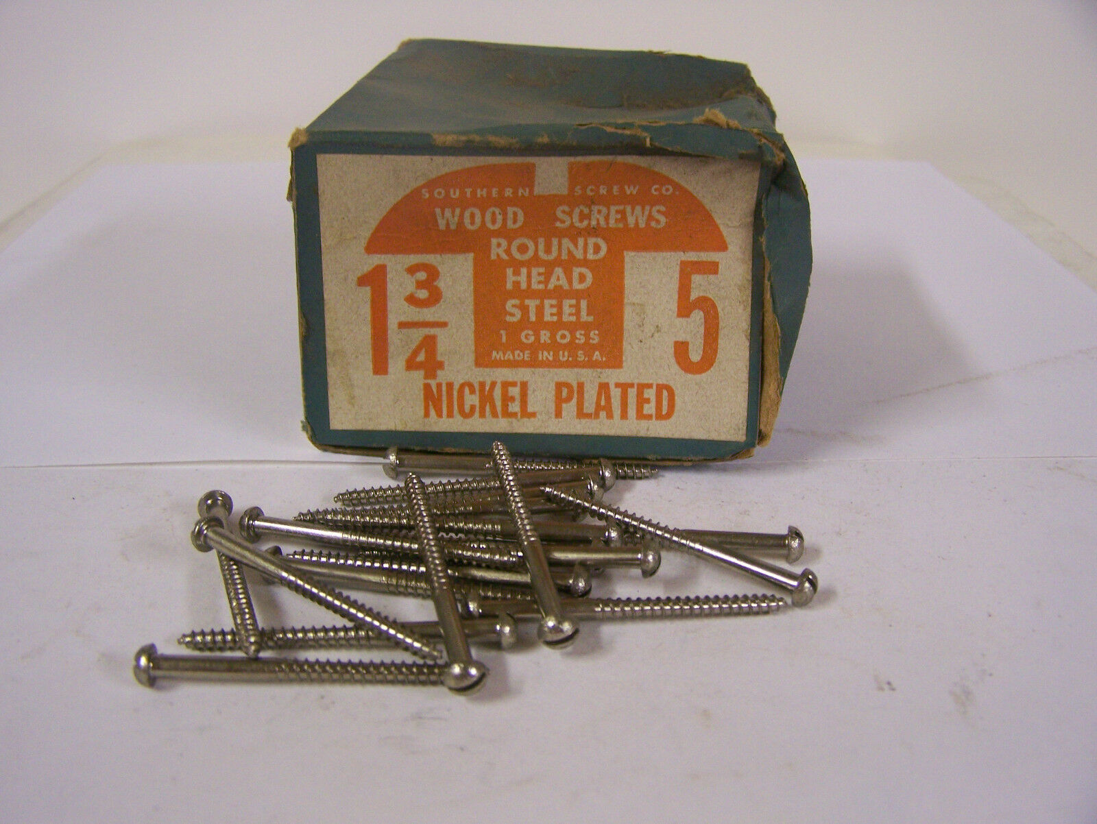 """#5 x 1 3/4"""" Nickel Plated Steel Screws Round Head Slotted Made in USA Qty. 144"""