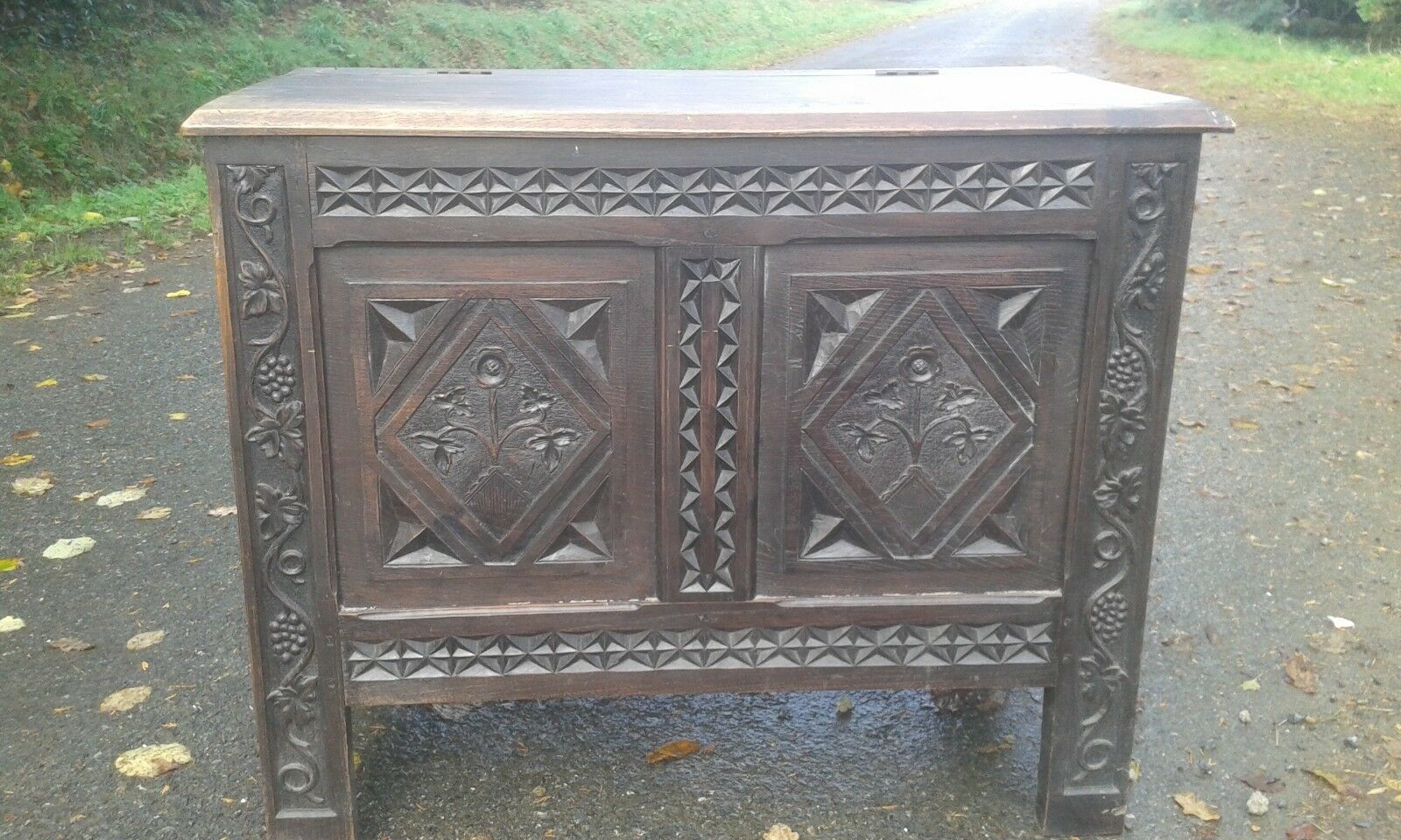 Antique French Carved Detail 19Th C Chest/coffer In Nice Condition.