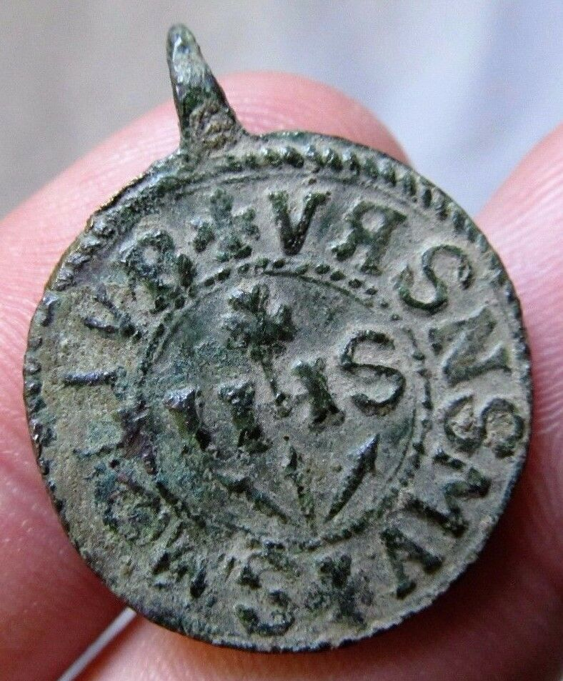 antique Spanish Mission Medieval Crusaders Colonial IHS Medal Religious 16-17th