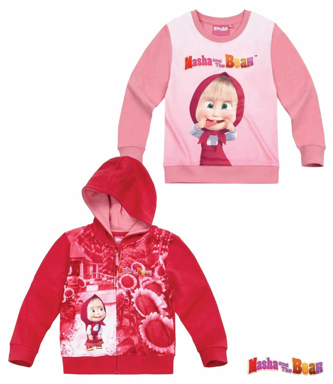 UFFICIALE MASHA AND THE BEAR Ragazza Top Manica Lunga Felpa con cappuccio,
