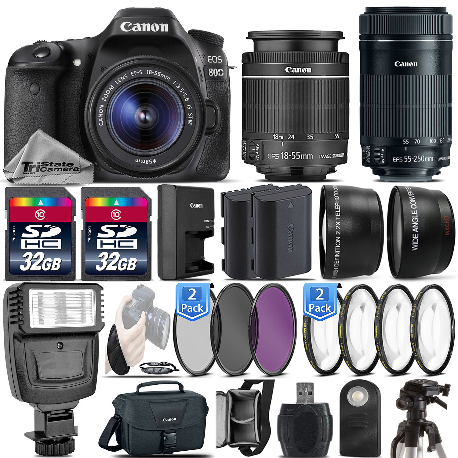 Canon Eos 80d Dslr Camera 18 55mm Is Stm 55 250mm Lens 1200d Kit Iii Non 1 Of 1only 3 Available