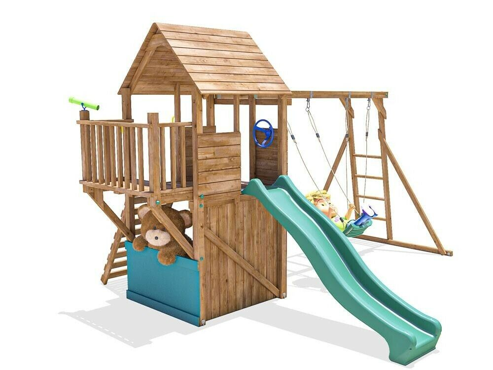 Climbing frame playhouse childrens swing set slide kid for Swing set frame only