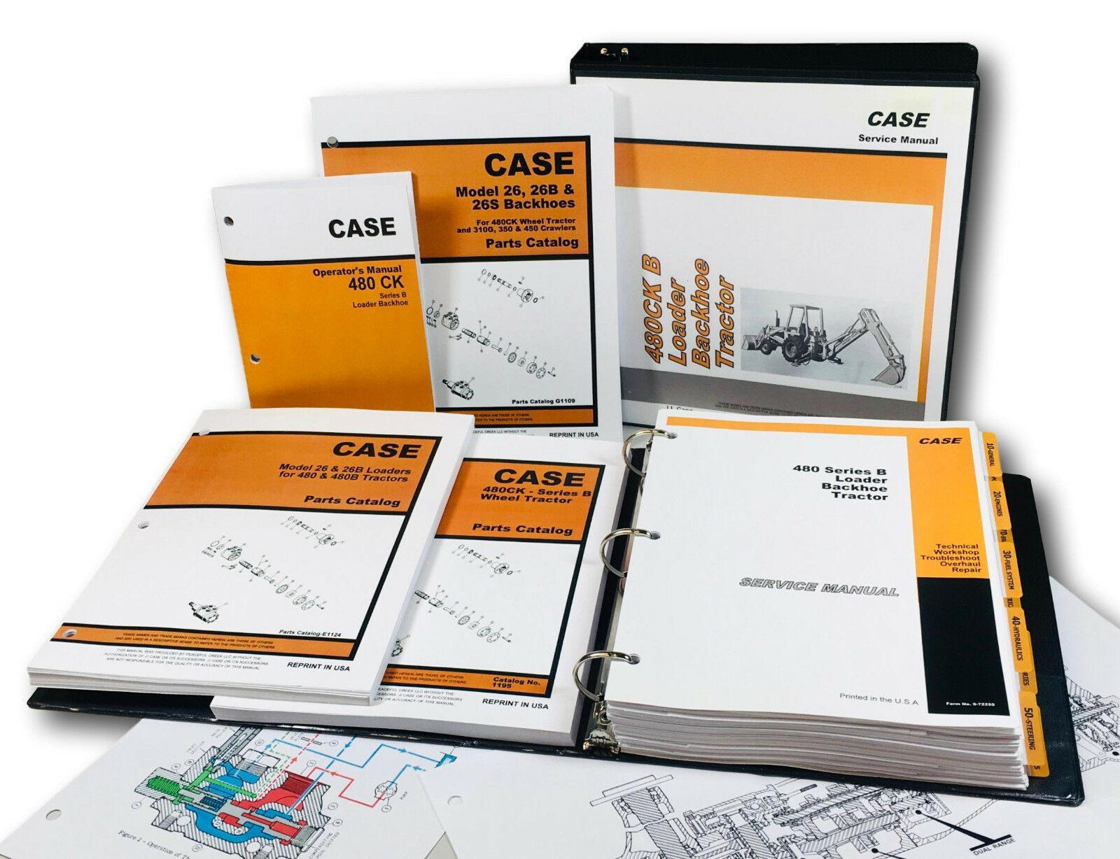 Case 480B/480 Ck B Tractor Loader Backhoe Master Operators Service Parts  Manuals 1 of 11FREE Shipping ...