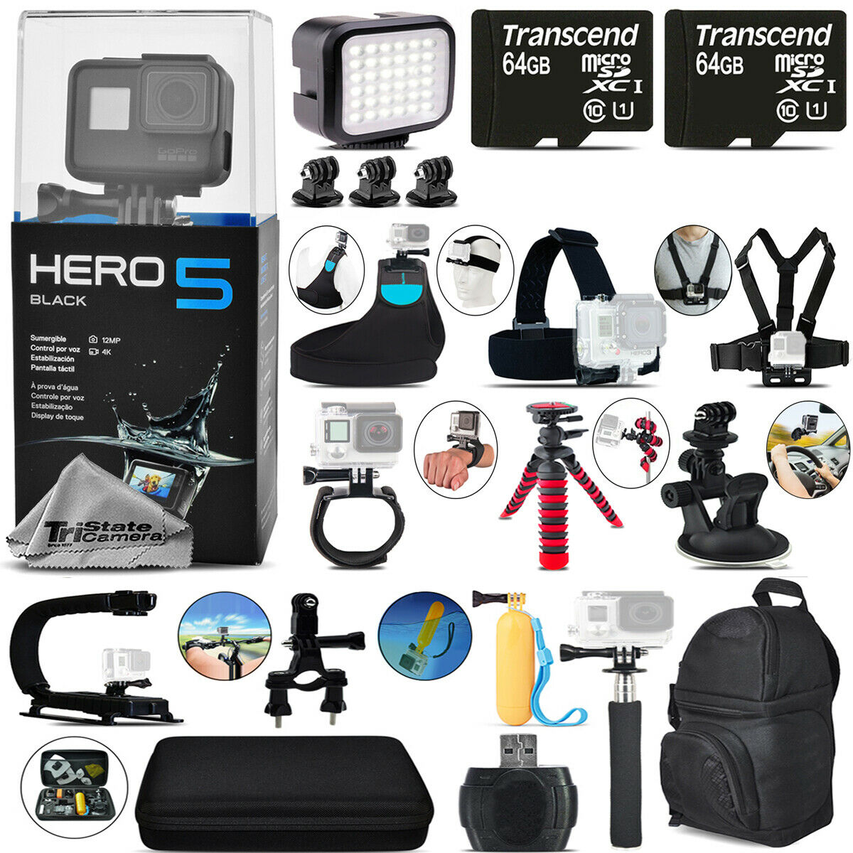 Gopro Hero Hd Action Camera 5 Black 4k Ultra Chdhx 501 Mega Loaded Bundle Kit 1 Of 11only 2 Available