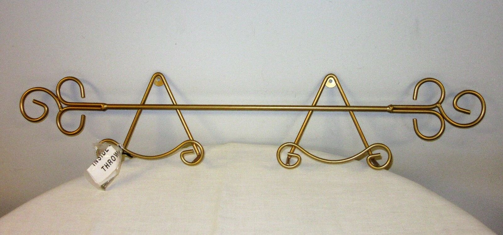 Horizontal Decorative Plate Rack Gold Tone Wall Mounted 29 12 With