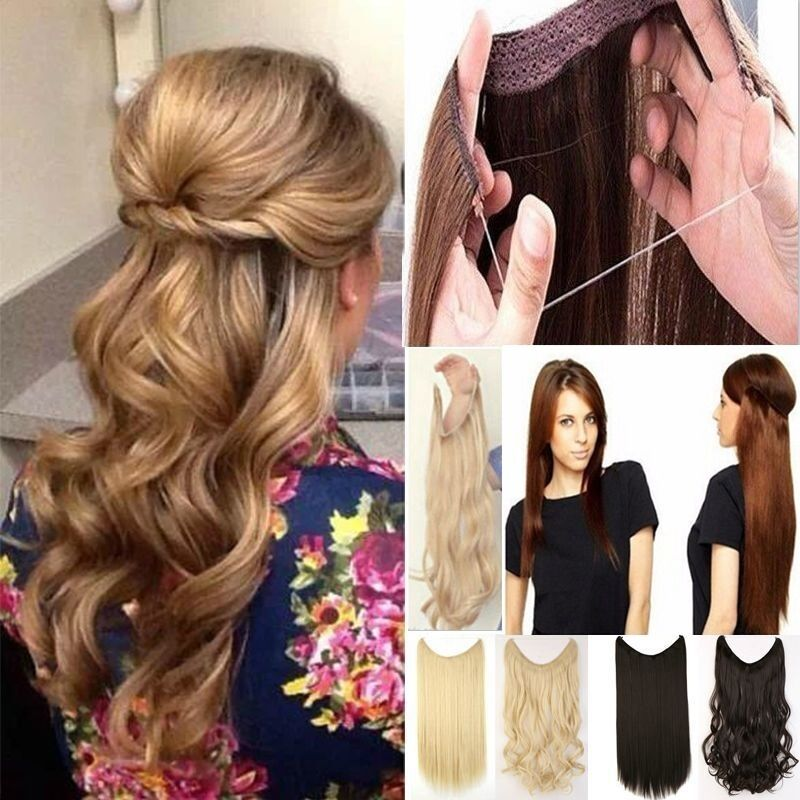 Headband Invisible Wire Hair Extensions Hair On A Wire 100 As Human