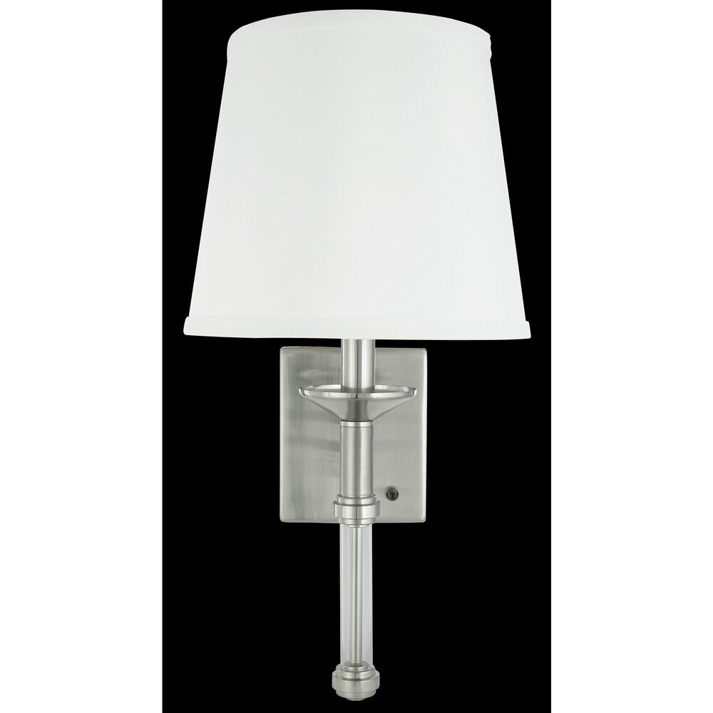 Brushed Nickel Wall Sconce With Shade Plug In Or Hard Wire 3999