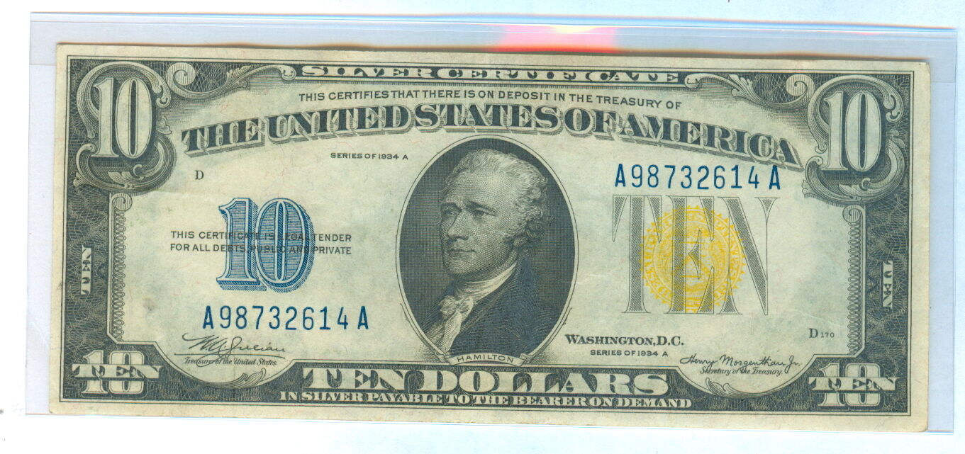 1934 A Ten Dollars Silver Certificate Note Cir 12099 Picclick