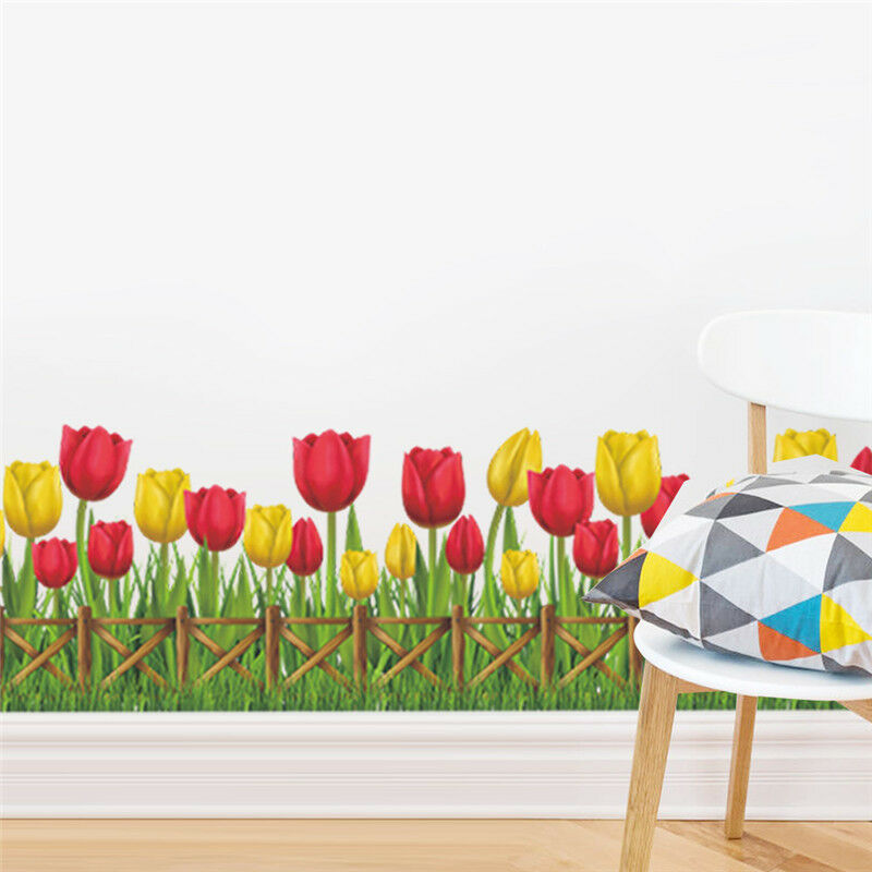 Removable wall sticker tulip flower fence vinyl art decal for Stickers decorativos