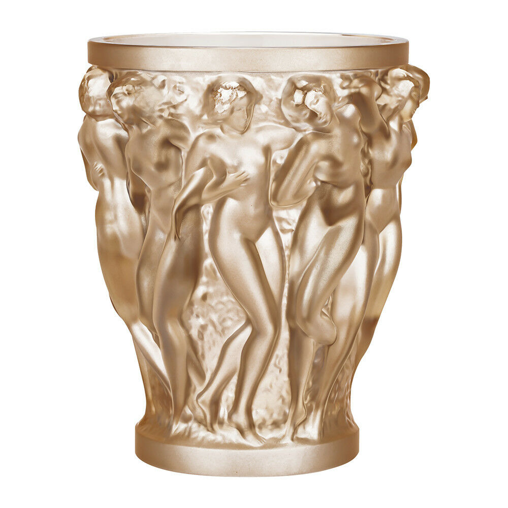 Lalique Bacchantes Vase Gold Luster Crystal Brand New In