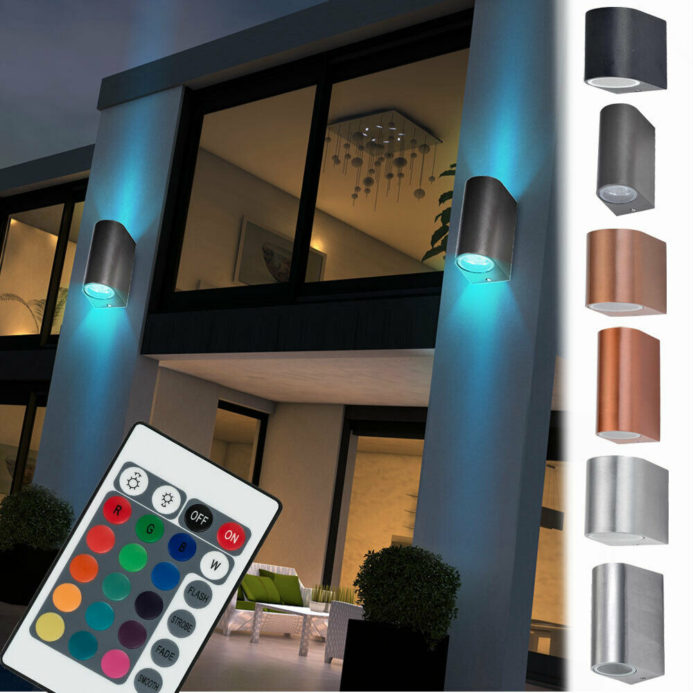 rgb led au en spot wand strahler lampe garten fernbedienung alu dimmbar up down eur 24 80. Black Bedroom Furniture Sets. Home Design Ideas